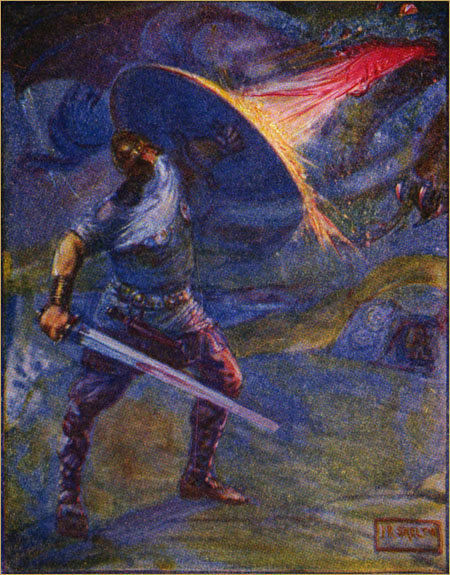 Stories of Beowulf Fighting the Dragon, common domain