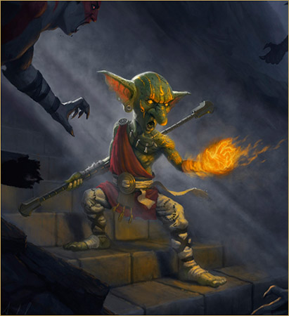 Goblin Monk of the Sacred Flame by Robson Michel. Used by permission. All rights reserved.