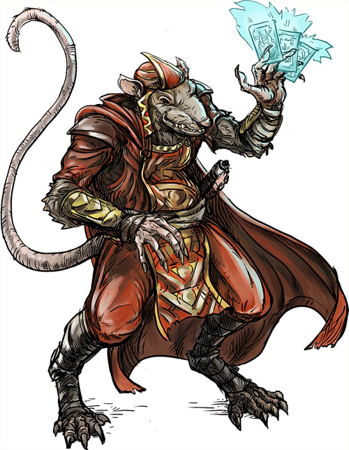 Male Ratfolk Card Caster by Matt Morrow. Used under license. All rights reserved.